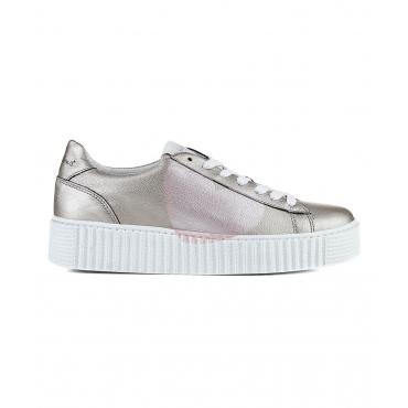 Sneaker in pelle silver silver