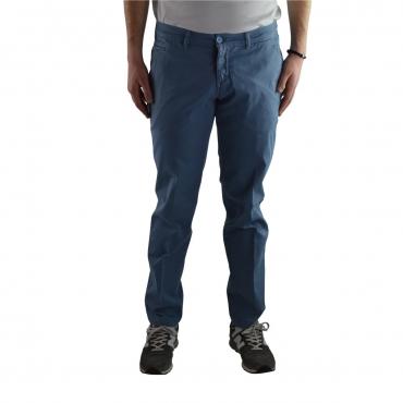 Pantalone Vincent Uomo Cotone Gamba Stretta Tinta U 51 BLU 51 BLU