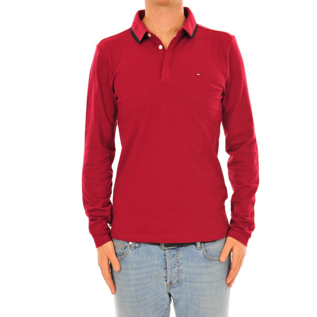 Tommy Hilfiger Men's Polo Shirt Long Sleeve Cotton 383 THYME |