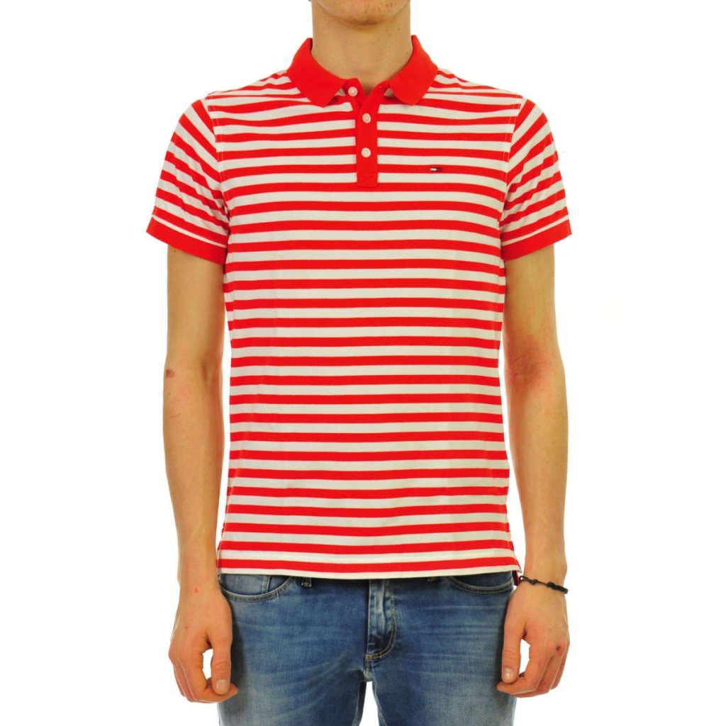 Image of Polo Tommy Hilfiger Uomo Rigato 662 RISK RED