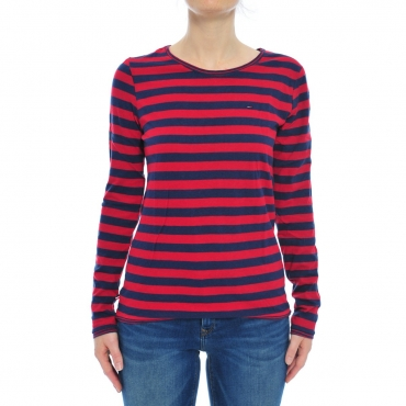 T-shirt Tommy Hilfiger Donna Righe 902 BLU CHILI 902 BLU CHILI