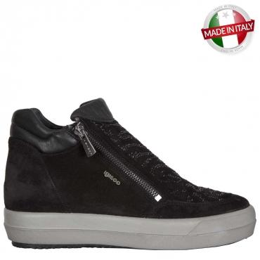 Sneakers nera alta con strass sulla tomaia NERO NERO