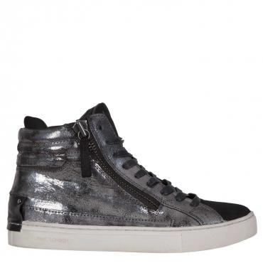 Sneakers nera grigia laminata doppia zip SILVER SILVER