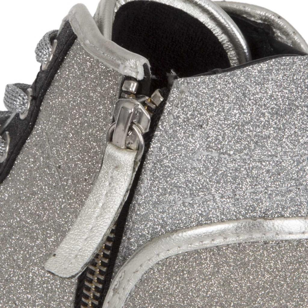 Sneakers alta coperta di glitter argentati SILVER SILVER