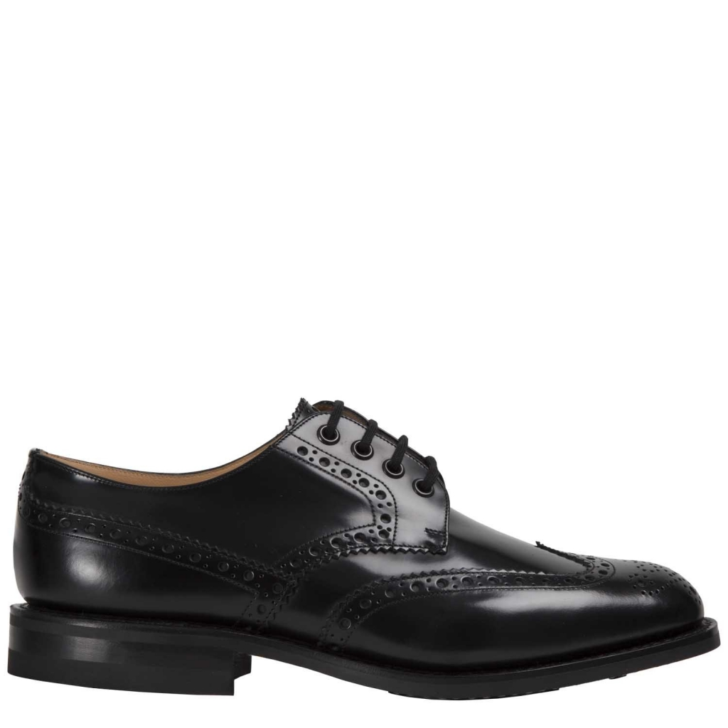 Ramsden British laces in black leather BLACK