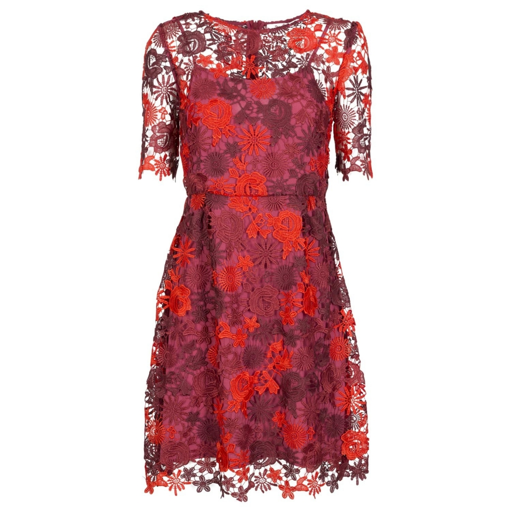 Abito in pizzo floreale rosso e bordeaux ROUGE ROUGE