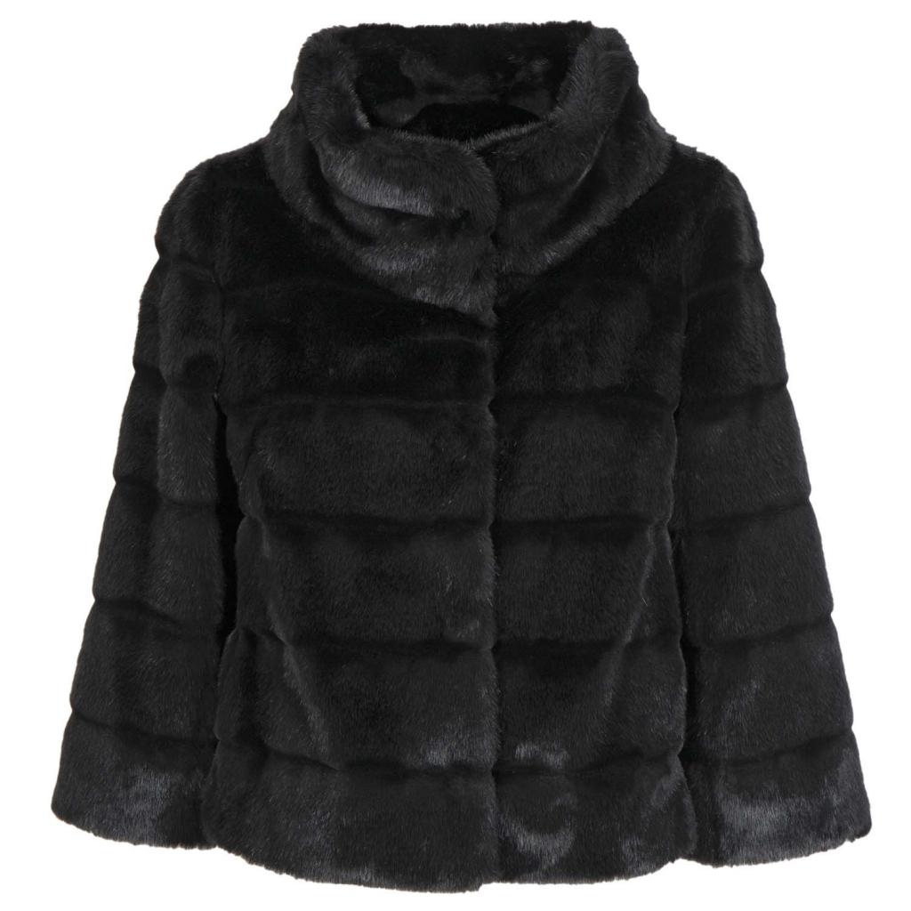 wholesale dealer 720cf 6dc14 Nenette - Cappottino corto eco pelliccia manica a 3/4 0700NERO - Gi...
