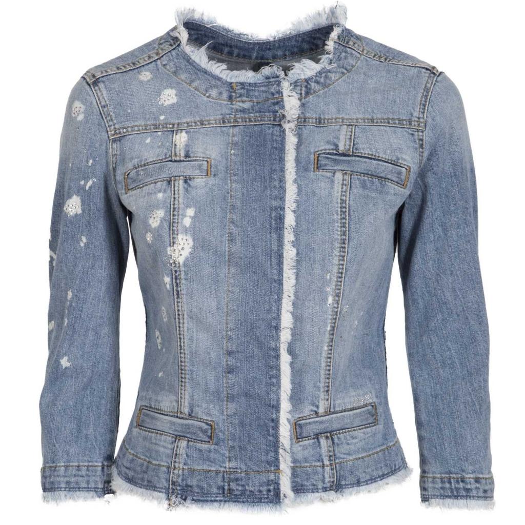 In Strass Bril Jeans Logo Corta Giacca Con Liu E Jo Applicati RSgZxa