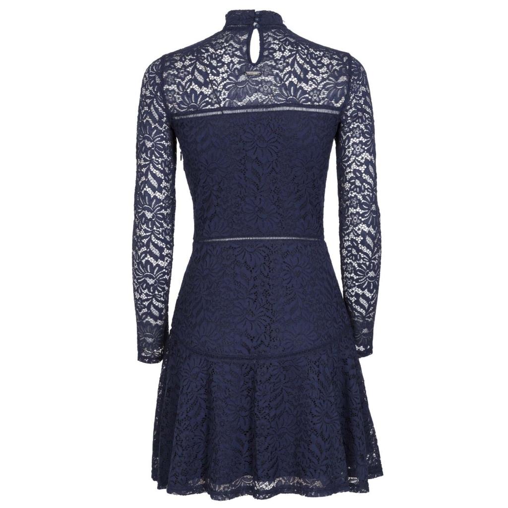 Kurzes Kleid aus Spitze mit hohem Kragen A996JETBLACK ...