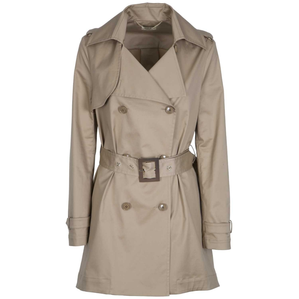 huge discount 7b190 8c7f4 Double-breasted trench coat with belt and asymmetrical bottom 61310CAPPUCC