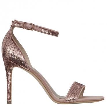 Sandalo open toe con paillettes rosa tacco 10cm ROSE ROSE