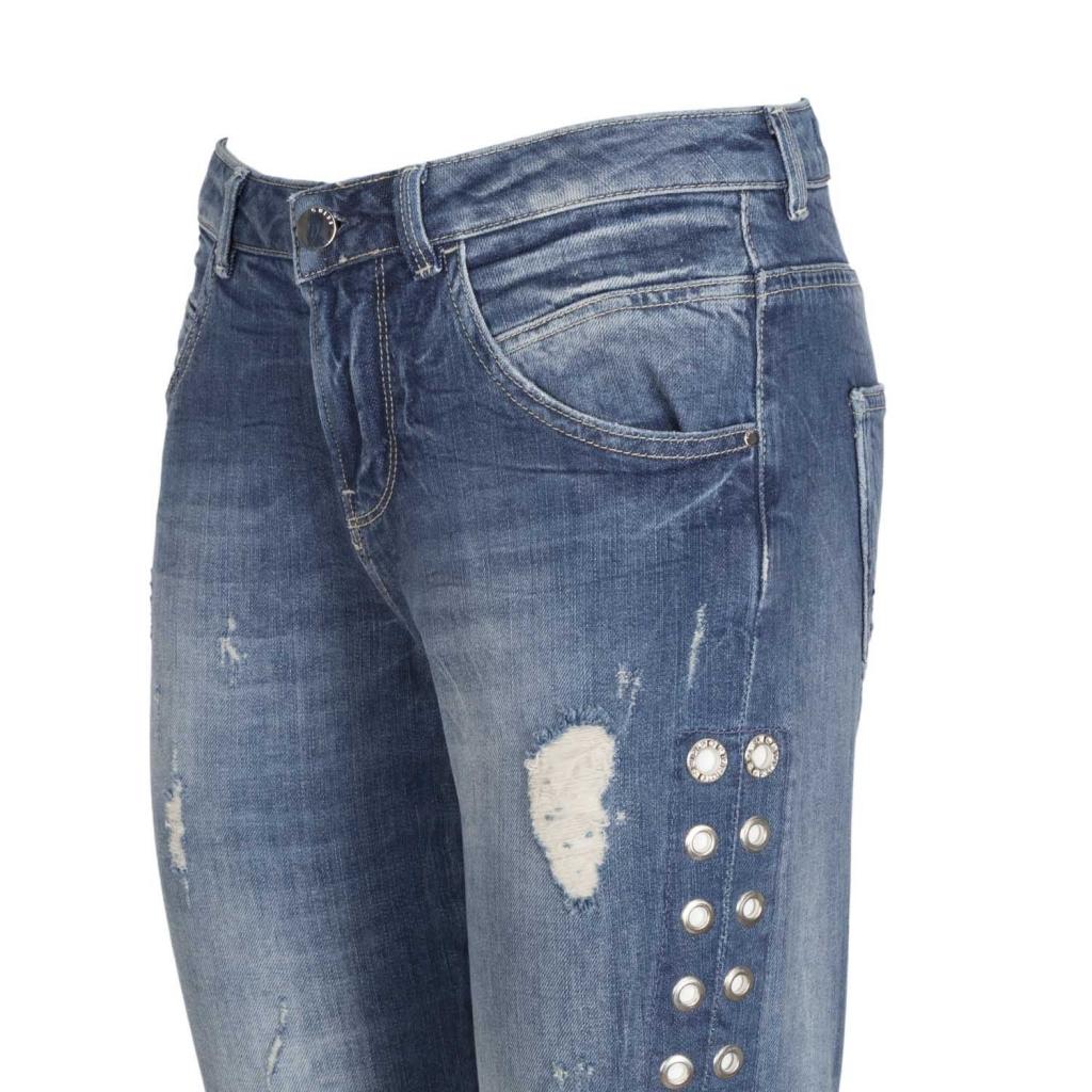 Jeans Vanille effetto destroyed con borchie MOTEL INDIGO MOTEL INDIGO
