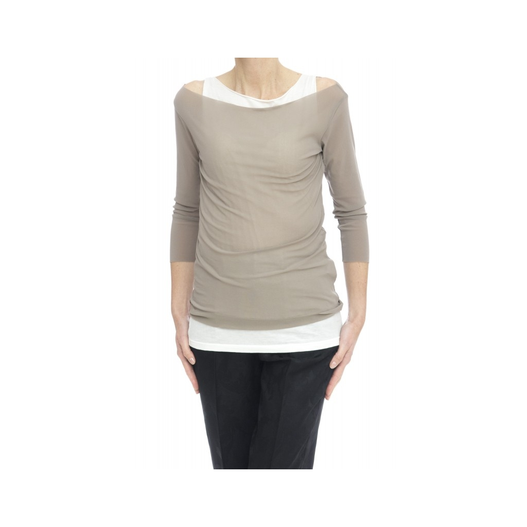 T-shirt - 17626 t-shirt doppiata con canotta 221- Grigio bianco 221- Grigio bianco