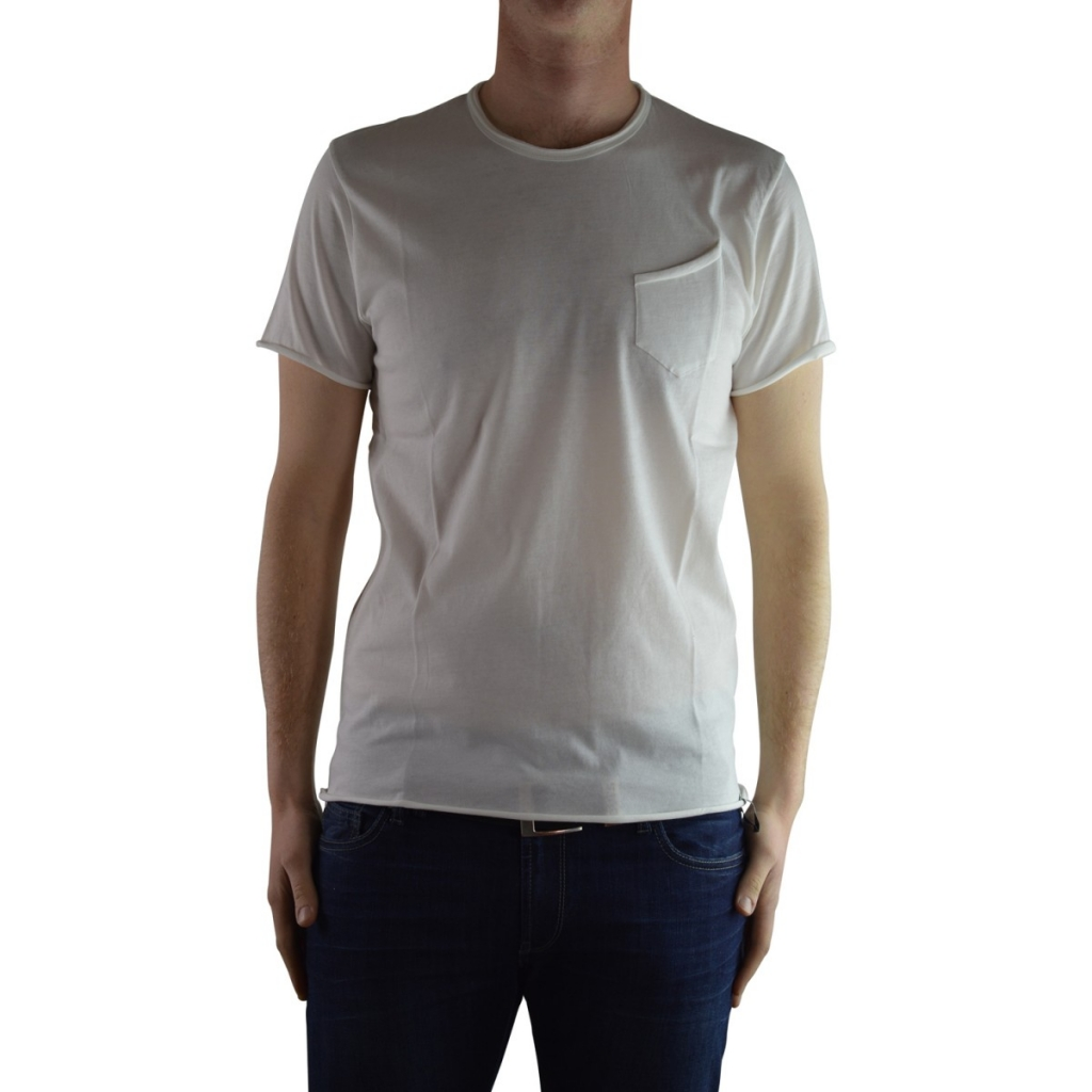 T-shirt Wise Guy Men Cotton Round Neck Pocket 01 PANNA