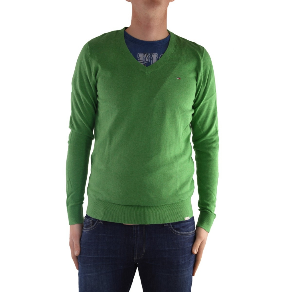 Sweater Tommy Hilfiger V-neckline Cotton 998 GREEN