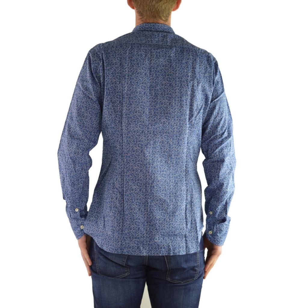 Camicia Tintoria Mattei Uomo Cotone Fiore Blu FD1 FD1