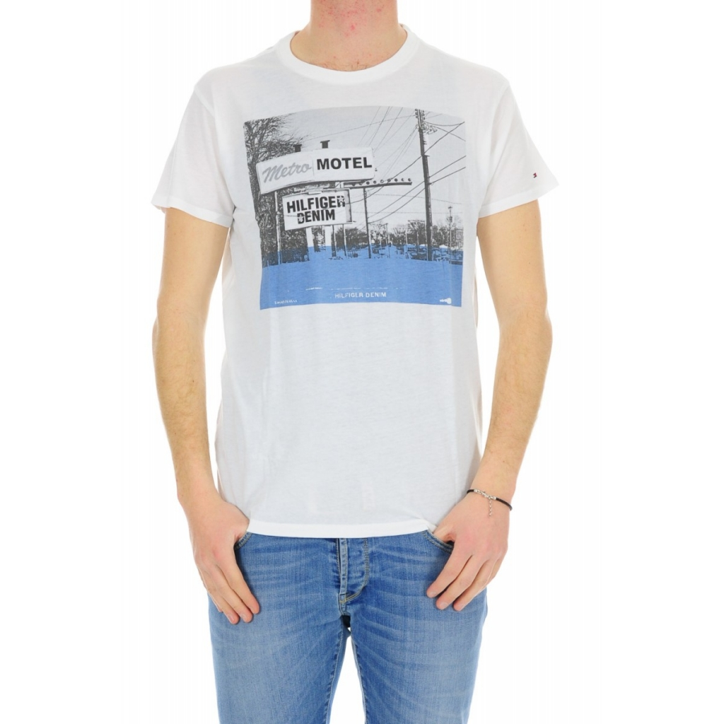 Tommy Hilfiger Men's T-shirt Print Photo 100 CLASSIC WHIT