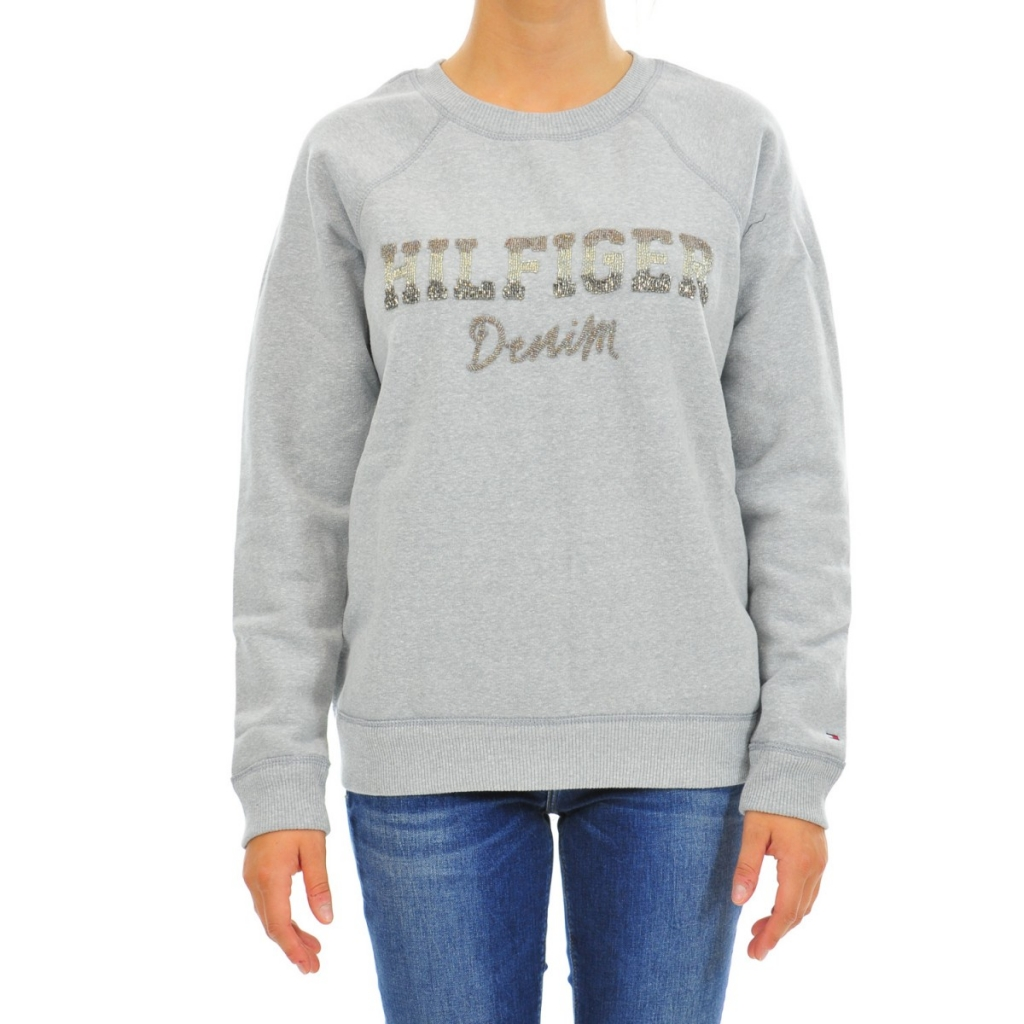 Tommy Hilfiger Damen Fleece-Sweatshirt Baumwolle 038 LT GRAY