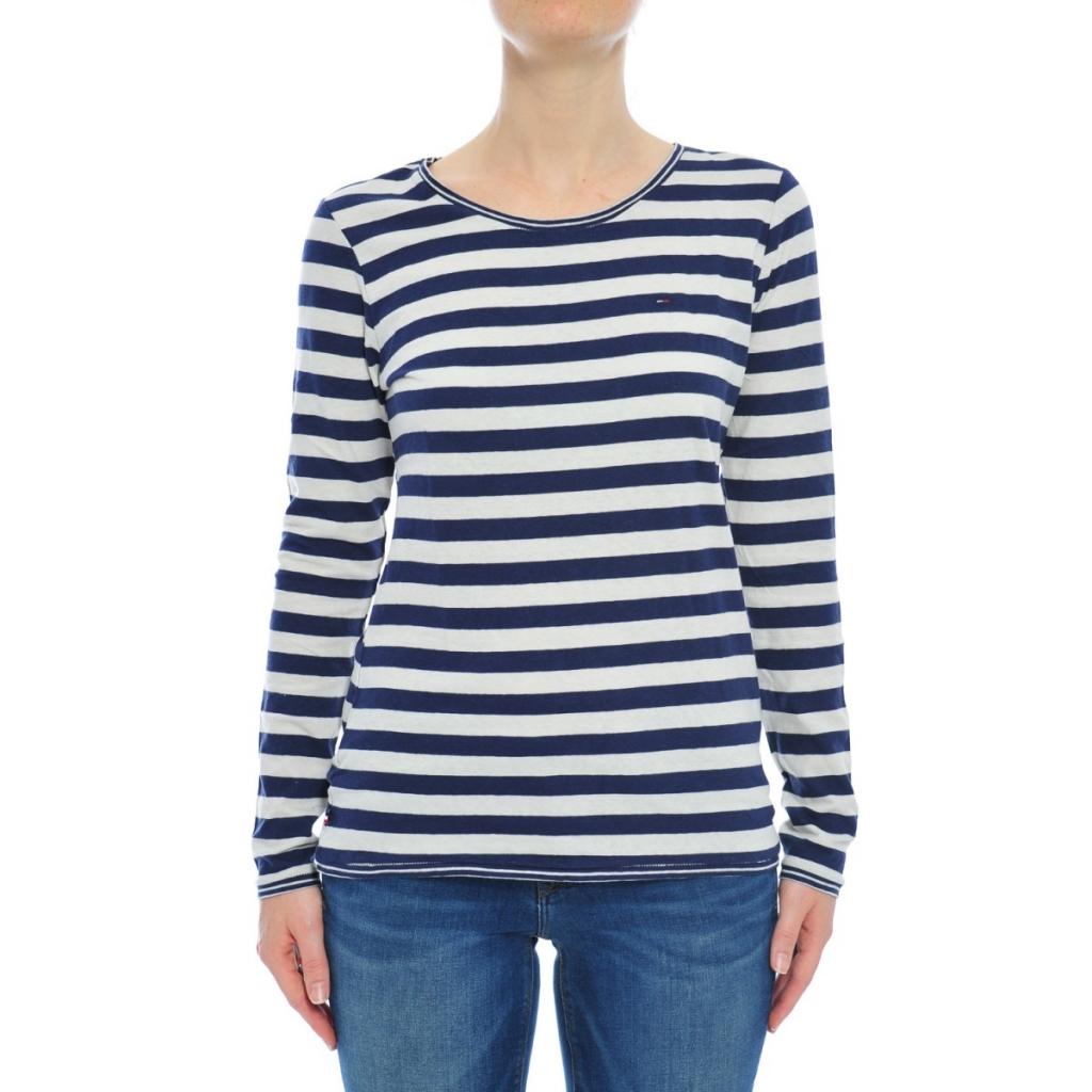 2f3d0660d19ec Tommy Hilfiger Women s T-shirt Stripes 901 BLU WHITE