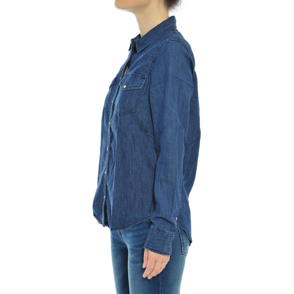 Camicia Tommy Hilfiger Donna Jeans 406 DARK INDIGO 406 DARK INDIGO