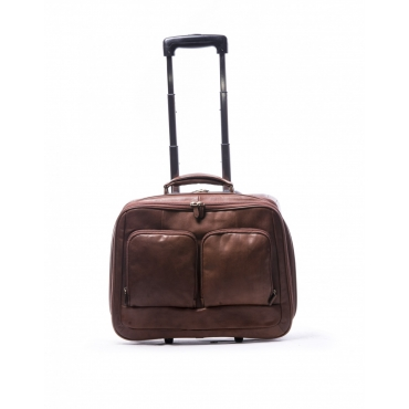 TROLLEY PELLE BUSINESS MARRONE MARRONE