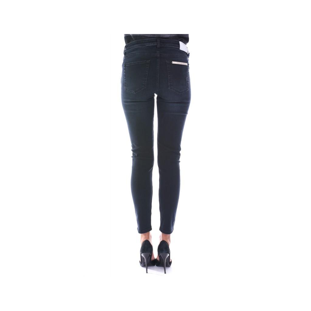 Jeans slim push up strappo sulle ginocchia NERO NERO