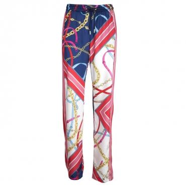 Pantalone Paula con fantasia catene e bande colorate ER4MULTBLU/R ER4MULTBLU/R