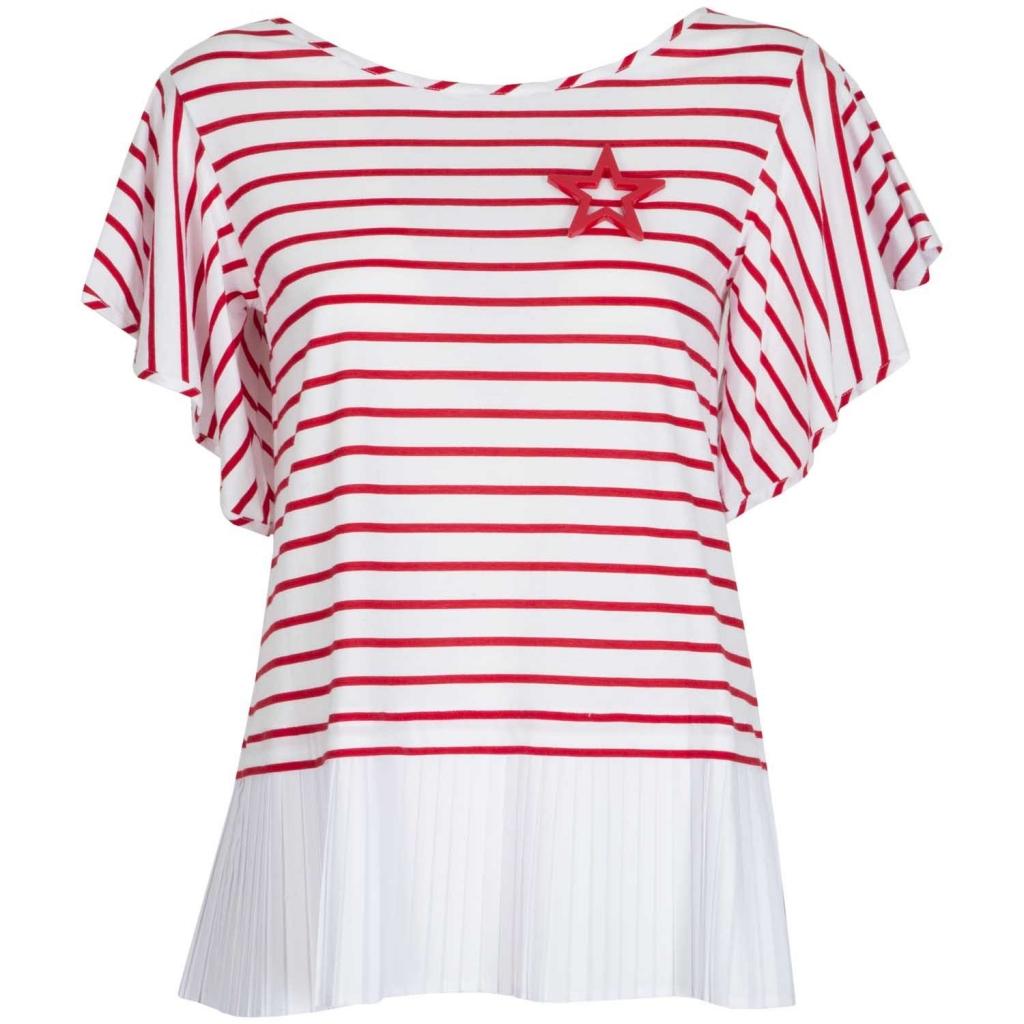 Maglietta a righe bianche e rosse e fondo plissettato 1974RIGAOTTI 1974RIGAOTTI