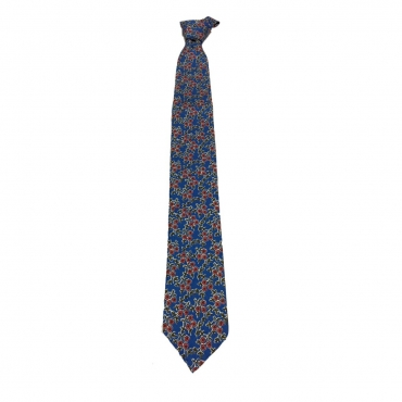 DRAKES LONDON cravatta sfoderata cm 7 azzurra con fiori rossi 100 seta MADE IN LONDON UNICO