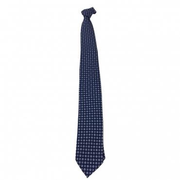 DRAKES LONDON cravatta uomo sfoderata cm 7 blu chiaro/bianco 100 seta MADE IN LONDON UNICO
