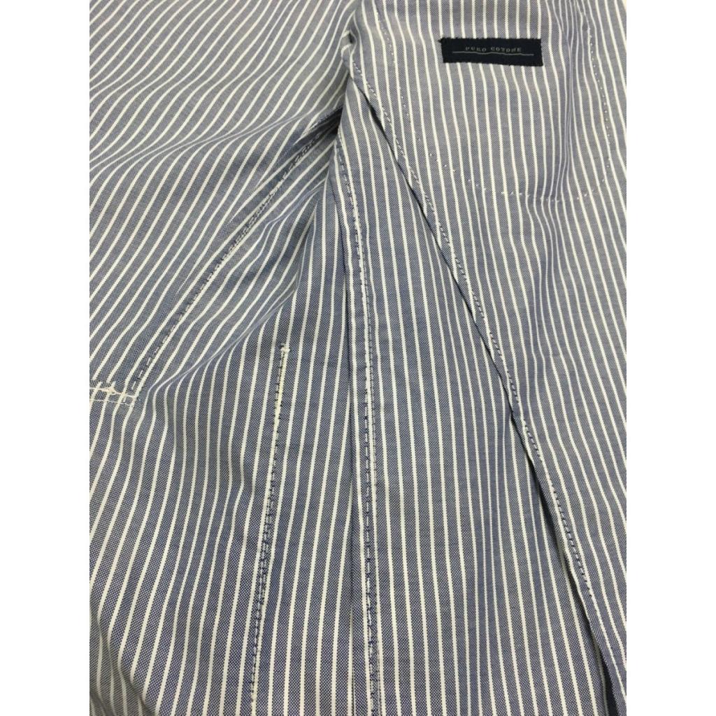 LUIGI BIANCHI giacca uomo sfoderata righe blu/ bianco 100 cotone UNICO