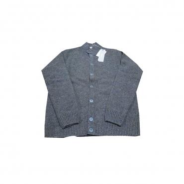 FERRANTE cardigan uomo con bottoni moro / grigio melange 100  lana MADE IN ITALY UNICO