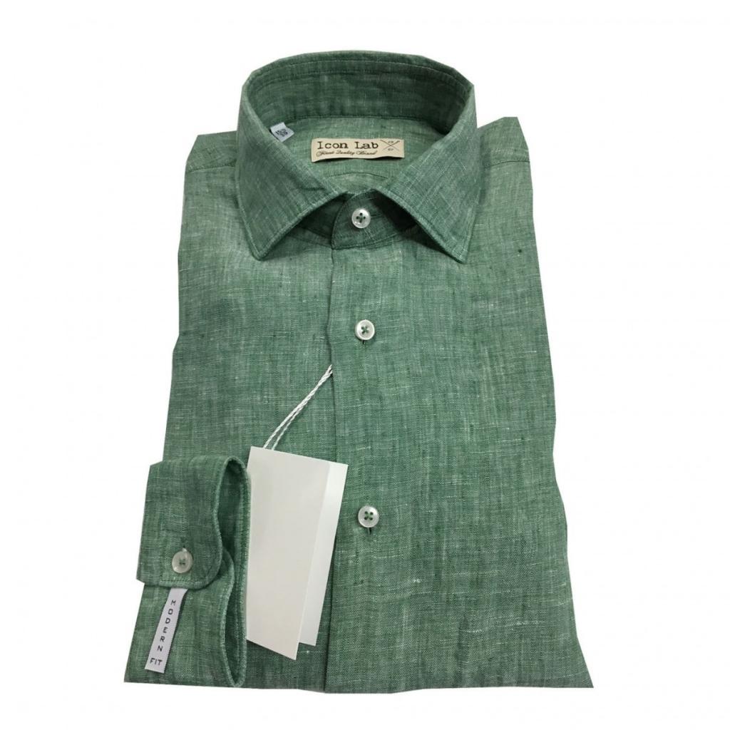 best sneakers 7f022 64c5f ICON LAB - ICON LAB 1961 camicia uomo verde melange manica lunga 10...