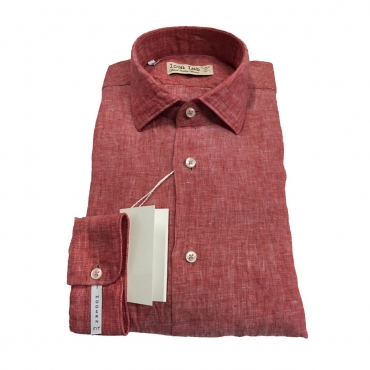 ICON LAB 1961 camicia uomo rosso fiammato manica lunga 100 lino vestibiit slim UNICO