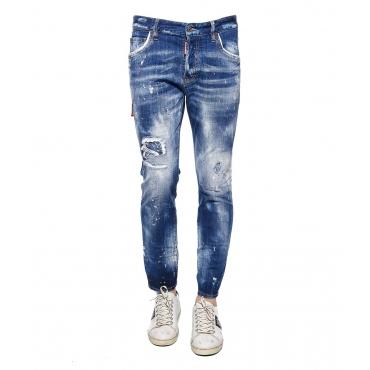 Pantaloni jeans in effetto used con macchie stampate blue