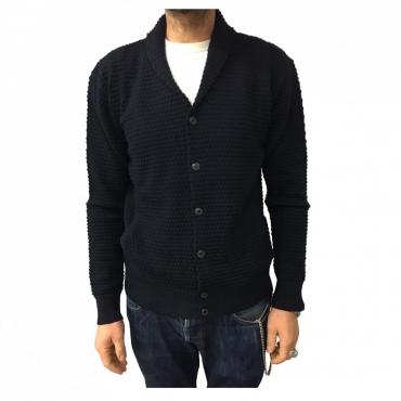 GRP cardigan uomo blu con tasche 100 lana MADE IN ITALY UNICO