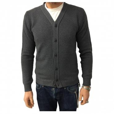 GRP cardigan uomo grigio 100 lana MADE IN ITALY UNICO