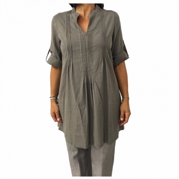 AND camicia donna over tortora 52 lino 48 cotone UNICO