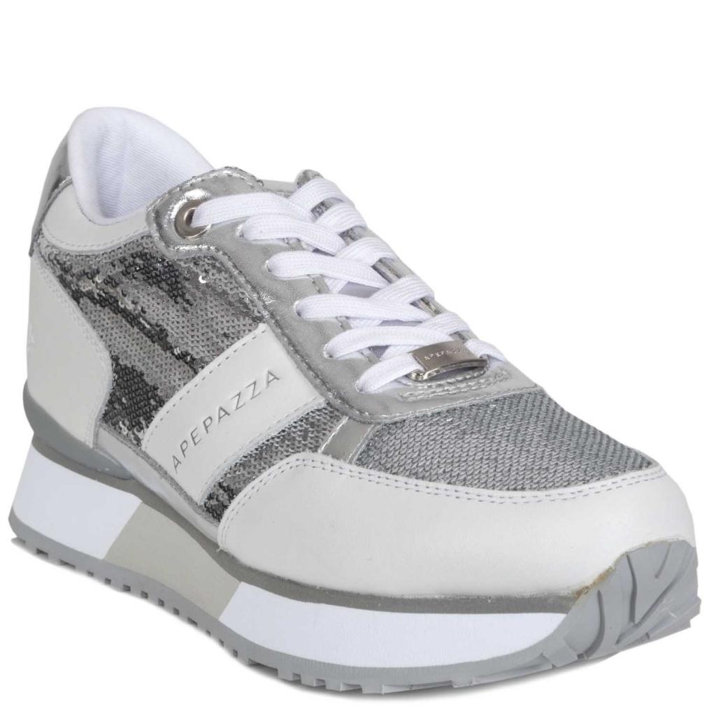 APEPAZZA - Sneakers con paillettes e plateau BIANCO - Scarpe  12ef4310809