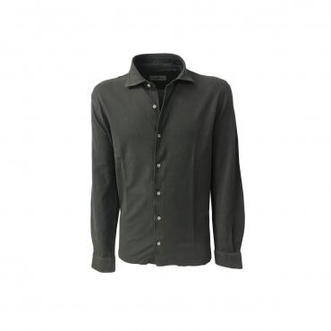 DELLA CIANA camicia uomo manica lunga piquet piombo mod 43250 100 cotone MADE IN ITALY UNICO