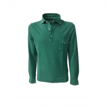 DELLA CIANA polo uomo manica lunga con taschino mod 43370L verde smeraldo 100 cotone MADE IN ITALY UNICO
