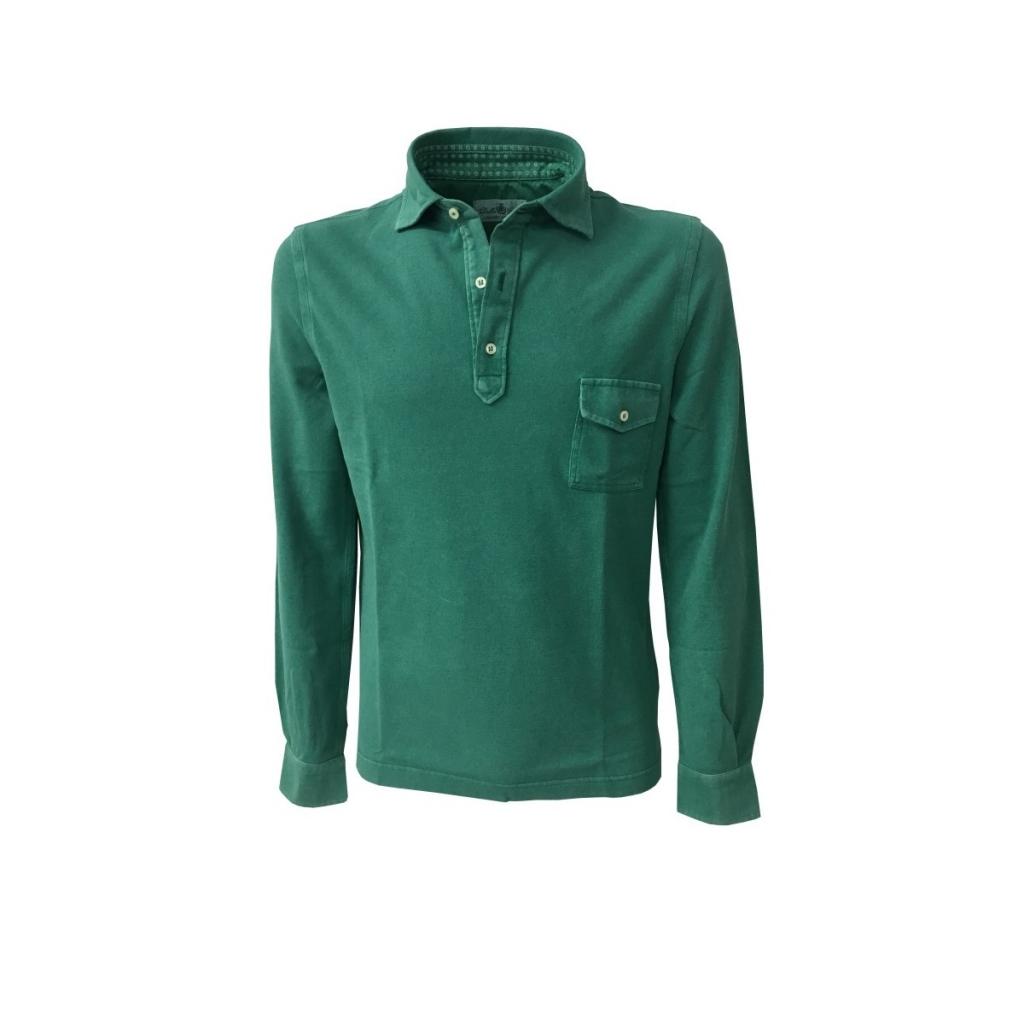 0d078864 DELLA CIANA men's long sleeve polo shirt with pocket mod 43370L emerald  green 100 cotton MADE