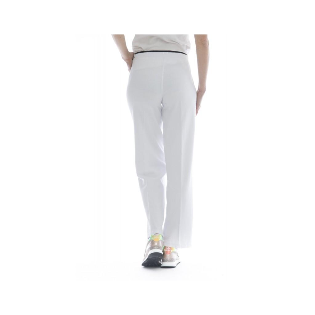 Pantalone donna - F18219 pantalone tuta largo 01 - Bianco