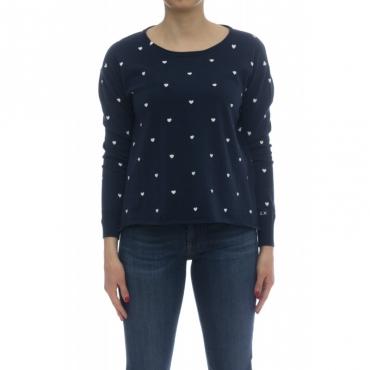 Maglieria - K18216 maglia giro cuori 0731 - blu panna