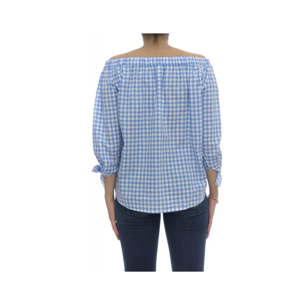 Camicia donna - S18214 camicia righina 12C  - Quadro azzurro