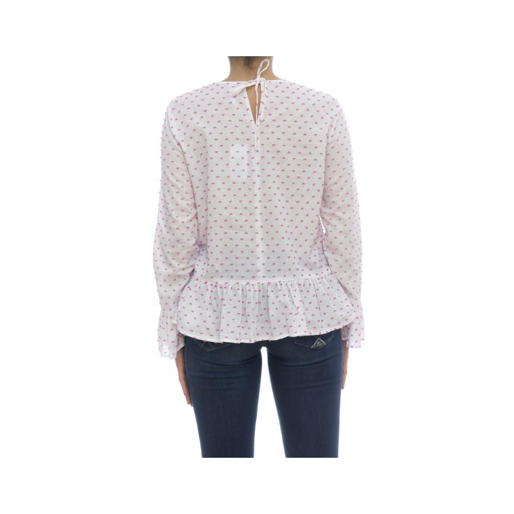 Camicia donna - S18215 camicia manica lunga 0120 - Bianco Fuxia