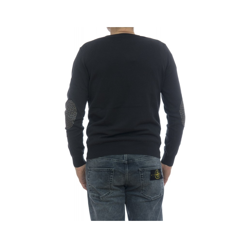 Maglia uomo - 5011/02 38 maglia collo a v con toppa 35 - Carbone