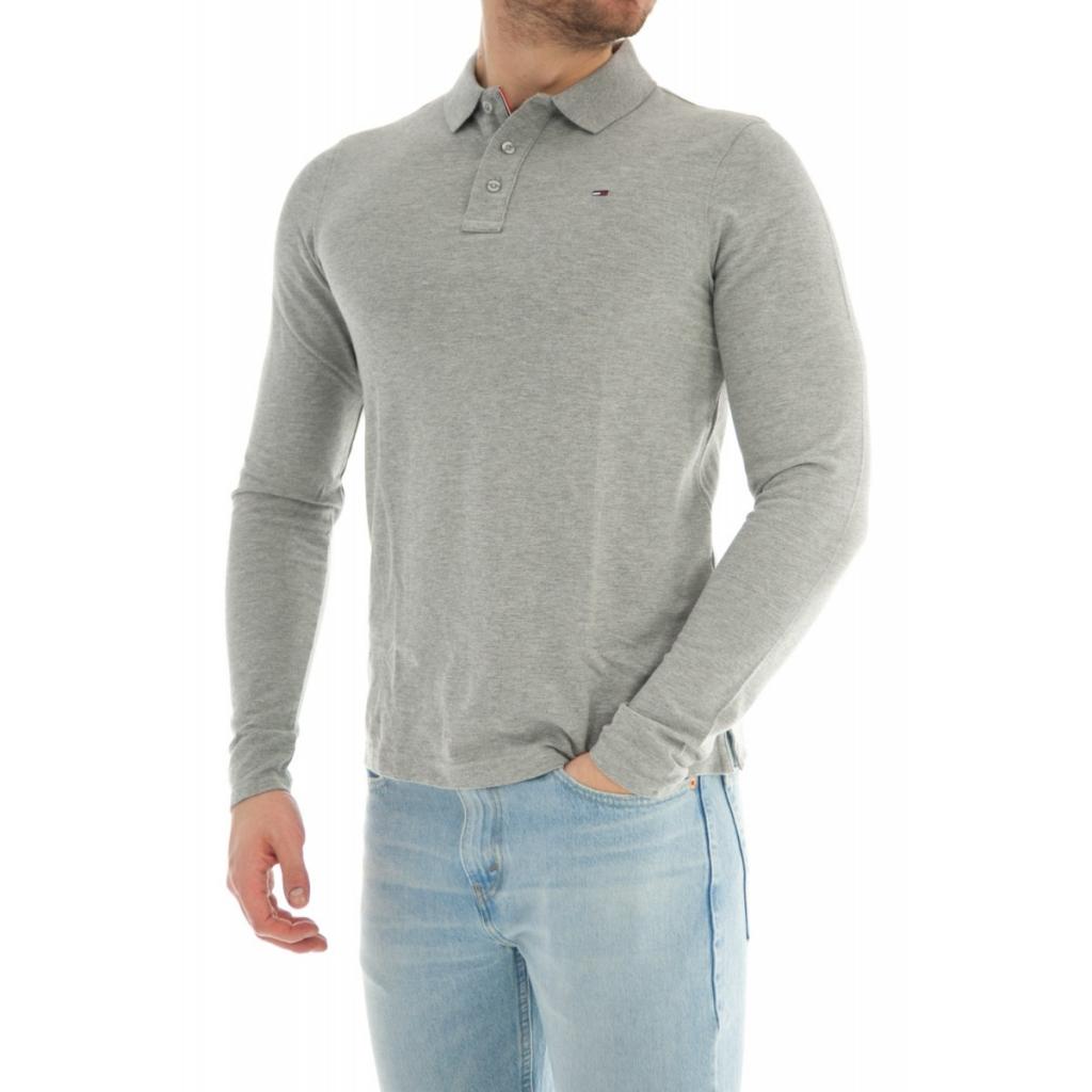 Tommy Hilfiger Mens Polo Shirt Long Sleeve Cotton Shirt 038 Lt Gray