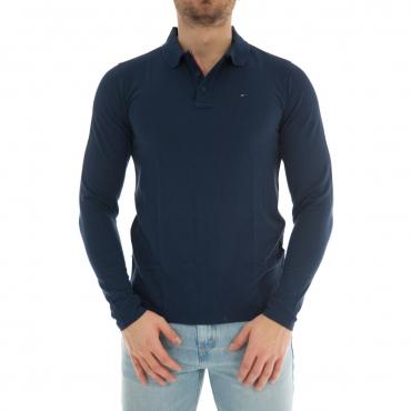 Polo Uomo Tommy Hilfiger Jeans Manica Lunga Cotone 002 BLACK IRIS