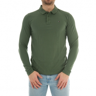 Polo Uomo Tommy Hilfiger Jeans Manica Lunga Cotone 383 THYME